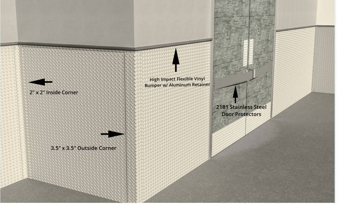 Stainless Steel Diamond Plate Wall System with 2181 Stainless Door Protectors